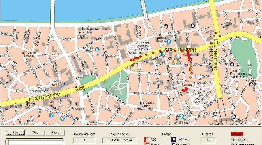 анимиран маршрут на автомобил